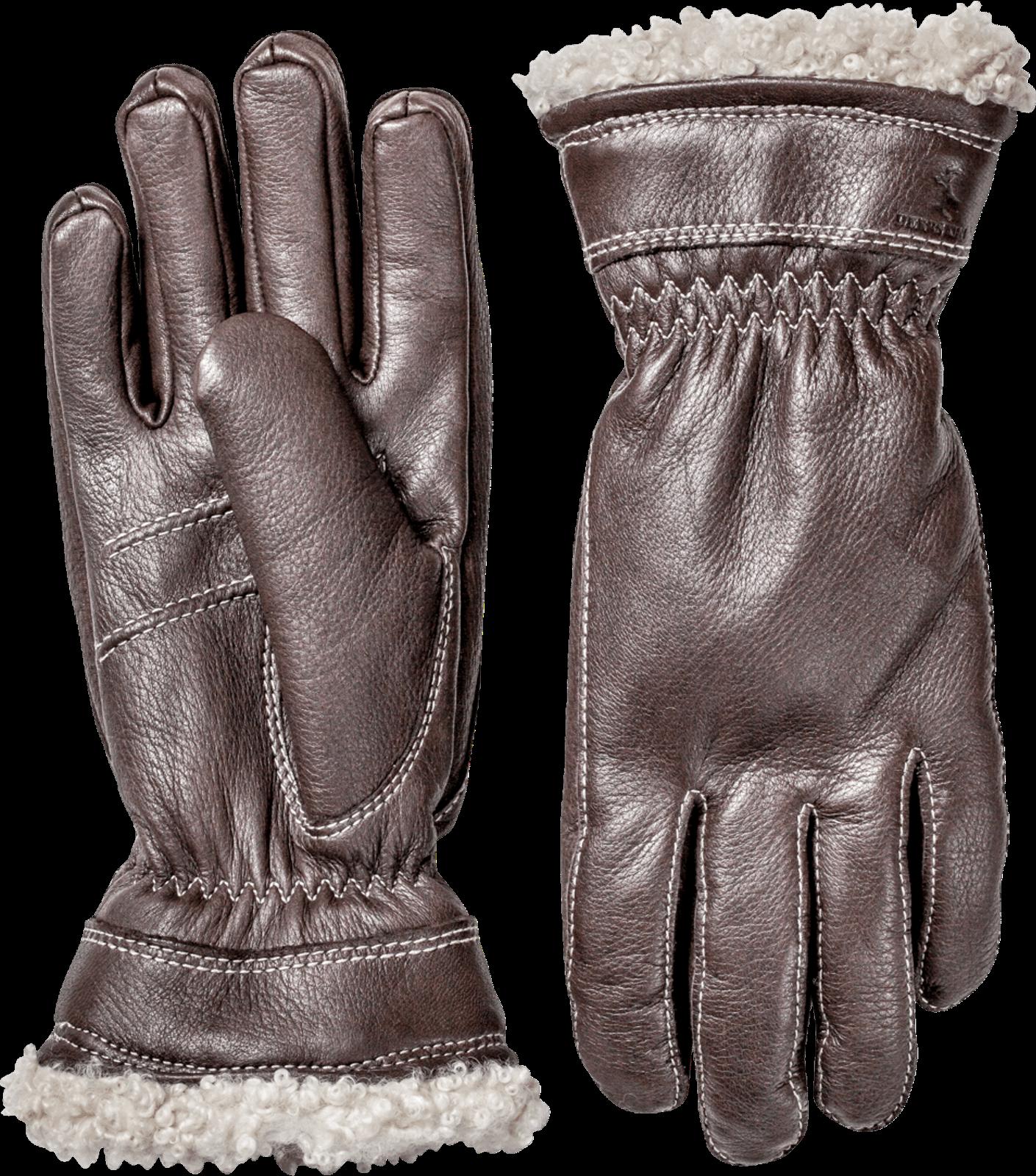 Hestra Womens Charlene Leather Gloves In Black